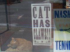 Dangerous Cat by www78, via Flickr,  Hatch Show Print shop cat has his own poster!