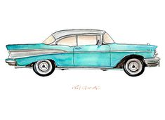 1957 Aqua Chevrolet classic automobile by FlightsByNumber on Etsy, $20.00