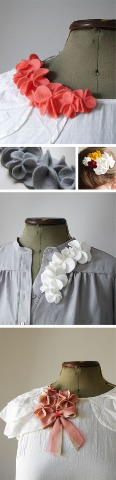 Would love to do this to some kid shirts for my little girl. felt flower brooches