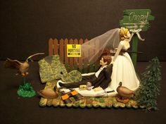 NO HUNTING DUCK with Chapel Sign Bride and Groom Wedding Cake Topper Funny. $69.99, via Etsy.