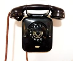 Black Rotary Wall Phone from PTT Holland