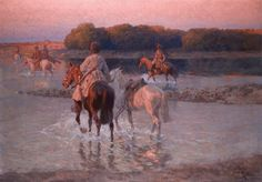 Circassians fording a river Oil on canvas 85 x 110 cm / 33,5 x 43,3 in. Signed l.r.: F.Roubaud