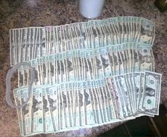 That's over $3,300. Coupla two dollar bills in there. | A Stripper's One Day Take In Tips