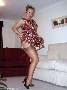 Mature wife milf hot dress hose tops heels