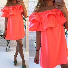Sexy Women's Bright Coral Summer Off the Shoulder Double Ruffle Shift Dress - SKU: 299521Decoration: RufflesSleeve Style: Butterfly SleeveMaterial: PolyesterDresses Length: Above Knee, MiniSilhouette: A-LineSleeve Length: ShortFit: Smaller than normal, order up a sizePlease allow 2-5 weeks for shipping/processing time. - On Sale for $25.99 (was $34.99)