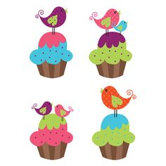 Cute Cupcake Birds Clipart  Great for by CollectiveCreation, $4.00