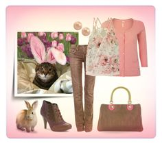 """""""Cat in Bunny Ears"""" by najoli ❤ liked on Polyvore featuring White Stuff, Stitches, Poetic Licence, Bailey 44, Etro and Honora"""