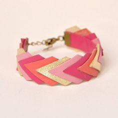 Bracelet Géométrique Cuir via Etsy ByAnneLison