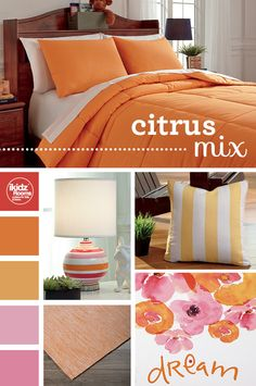 #SummerStyle #iKidzRooms #Citrus - What better way to celebrate summer in style then with inspiration from citrus hues!? Incorporate a bright orange bedding set and complete your room with bright orange, yellow and pink lamps, pillows, rugs and wall art! Your room will look like an instant sunset! iKidz Rooms® - Kids, Teen and Youth Bedroom Furniture and Accessories