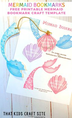 Free Printable Mermaid Bookmarks Craft Template for Kids - ThatKidsCraftSite.com
