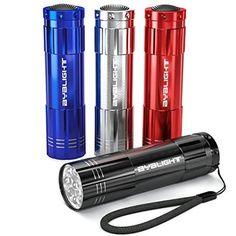 Pack of 4, BYB Super Bright 9 LED Mini Aluminum Flashlight with Lanyard
