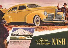 1940 Nash car print ad Arrow Flight Ride in yellow by Vividiom, $9.00
