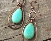 Turquoise Jewelry Silver Hoop Earrings Silver by Lammergeier