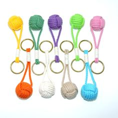 Traditional Monkey Fist Split Ring Key Chain Tropical Colors