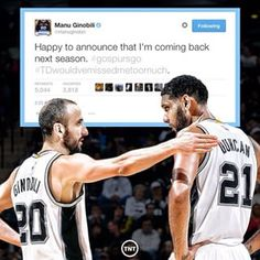 Instagram post via: @nbaontnt Yay! Manu Ginobilli is coming back!!!! haha not only would Tim Duncan be the one missing Manu, so would we!
