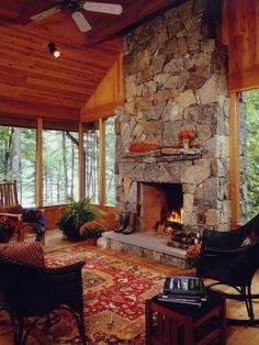 classic idea stone fireplace design
