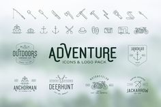 Simplistic Adventure Icons + Vintage Logo Pack by pratamaydh on @creativemarket