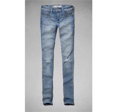 JEANS ABERCROMBIE WOMEN'S A&F SUPER SKINNY JEANS DESTROYED LIGHT WASH #JEANS #ABERCROMBIE