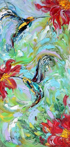 Original oil painting Hummingbird Flowers palette by Karensfineart, $168.00