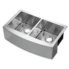 Apron Front Kitchen Sink, Double Bowl Kitchen Sink, Apron Sink, Stainless Steel Farmhouse Sink, Farmhouse Sink Kitchen, New Kitchen, Kitchen Ideas, Double Farmhouse Sink, Kitchen Sinks