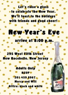 champagne confetti new years eve party invitations New Years Eve Invitations, Anniversary Invitations, Gold Invitations, Graduation Invitations, Floral Wedding Invitations, Anniversary Parties, Bridal Shower Invitation Wording, Office Holiday Party, Good Cheer