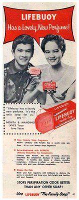 Manding Claro and Nenita Vidal in 1956 Lifebuoy ad.