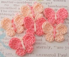 Crocheted Tiny Butterflies  Set of 6 by FineThreads on Etsy, $2.50