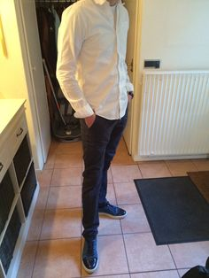 A white shirt together with a blue chino and the lanvin sneakers are great. Something that looks more luxurious. The is for special events.