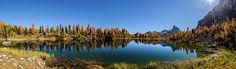 Dolomites. Autumn Panorama Of Lake Federa. Magical Autumn Atmosphere