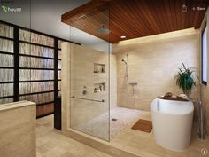 2041 West Dickens - contemporary - bathroom - chicago - Blender Architecture LIKE this shower/tub area - note the rain shower head from the ceiling at one end and the handheld shower head at the other end. Wet Rooms, Wooden Ceiling Design, Timber Ceiling, Bathtub Shower Combo, Bath Shower, Sauna Shower, Huge Shower, Dream Shower, Shower Niche