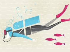 Scuba Diver by Brad Woodward (found on dribbble)