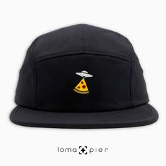 1f48cd7f47332 UFO PIZZA typography embroidered on a black cotton 5-panel hat with  multicolor thread by. loma+pier hat store