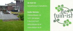 Afgelopen vrijdag nog even telefonisch bijgepraat met Ineke Stevens-Tijdeman van de Tuin-ist. De Tuin-ist doet dit jaar ook mee met de Obd Midden-Drenthe en zal zich aansluiten bij de overige ondernemers die hier op zaterdag 7 november weer staan.  Wilt u een boom kappen, maar weet u niet wat er voor in de plaats moet komen? Vindt u uw tuin te saai in de winter? http://koopplein.nl/middendrenthe/gebruikers/114972/de-tuin-ist