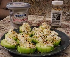 cucumber, cream cheese, TJ everything but the bagel seasoning. Make vegan keto using kite Hill cream cheese Low Carb Recipes, Diet Recipes, Cooking Recipes, Healthy Recipes, Advocare Recipes, Cheap Recipes, Cooking Hacks, Seafood Recipes, Yummy Recipes