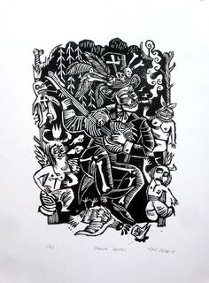Baron Samedi  linocut, 10 copies signed and numbered available.  Marie Meier for Duo Désordre.