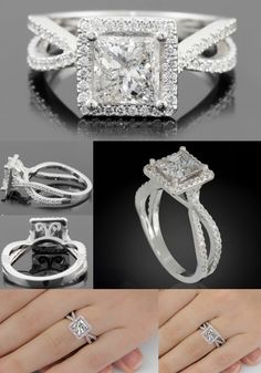 Halo Engagement Ring in 14k White Gold with a Princess Cut Diamond Center and Diamond Split Shank - LS3714 by Laurie Sarah Designs
