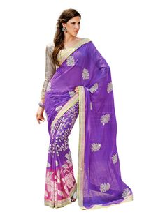 Purple Floral Print Chiffon #Saree