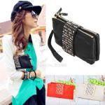 Simple Fashion PU Leather Handbag Rivet Lady Clutch Purse Wallet Evening Bag5