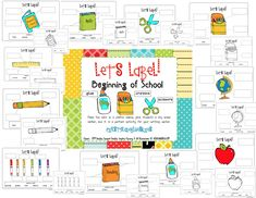 Label It! Beginning of School & Freebie 1st Day Of School, Beginning Of The School Year, Back To School, School Stuff, Teaching Letter Sounds, Teaching Letters, Circle Time Songs, Organizing Labels, School Labels