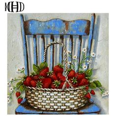 Stella Bruwer wicker basket of strawberries on shabby blue chair Decoupage Vintage, Decoupage Paper, Art Floral, Art And Illustration, Stella Art, Country Art, Cross Paintings, Kitchen Art, Pictures To Paint