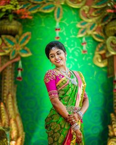 The background that enhances the brides color choice! Check out the jewelry, each piece has a different colored centre stone, yet they don't clash with each other! That oddiyanam (hip accessory) is beautiful! ❤ PC Mystic Studios @mysticstudios.in Please visit Shopzters.com for more pictures #indianbride #indiangroom #indianwedding #indianweddinginspiration #indianweddingblog #indianweddingdecor #indianweddingphotography #sareeblouse #silksaree #southindianwedding #southindianbride…
