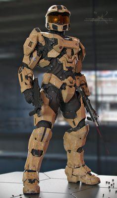 Master Chief - Desert Scheme by SgtHK on DeviantArt - Halo Master Chief, Master Chief And Cortana, Halo Cosplay, Cosplay Armor, Skyrim Cosplay, Anime Cosplay, Halo Game, Halo 3, Cyberpunk