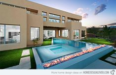 A swimming pool is one of the favorite places to refresh our mind. It is no wonder that people will seek the resort with modern and luxurious swimming pool to spend their vacation. A nice swimming pool design will require . Backyard Pool Designs, Swimming Pool Designs, Pool Landscaping, Foyers, Home Design, Moderne Pools, Modern Farmhouse Style, Renting A House, Custom Homes