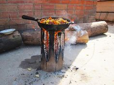 How to: Make a campfire from a sing log... And cook on it! #outdoors #camping #cooking