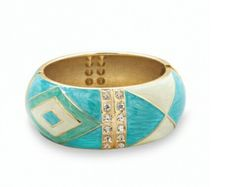 Large teal and gold with crystal accent hinged bangle bracelet 19.00 USD