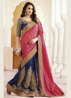 Pink And Blue Designer Wedding Saree