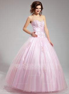 Ball-Gown Sweetheart Satin Tulle Dress With Ruffle Lace ~ <3