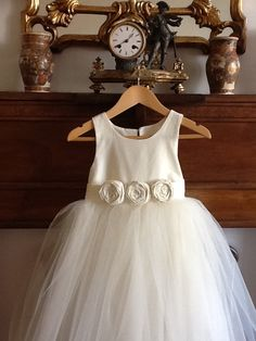 Flower girl dress for wedding with rosettes - Toddler Flower girl dress ivory - bridesmaid dress -cotton, silk, high quality satin. $99.00, via Etsy.