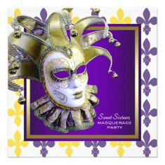 Sweet Sixteen Gold Purple Masquerade Party Personalized Announcement