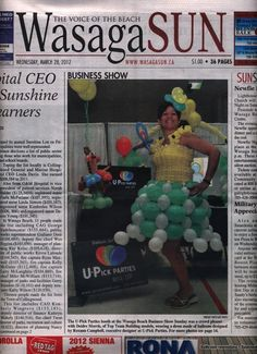 Balloon dress makes front page news.